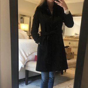 Via Spiga fur black coat size 0, fits like a Small